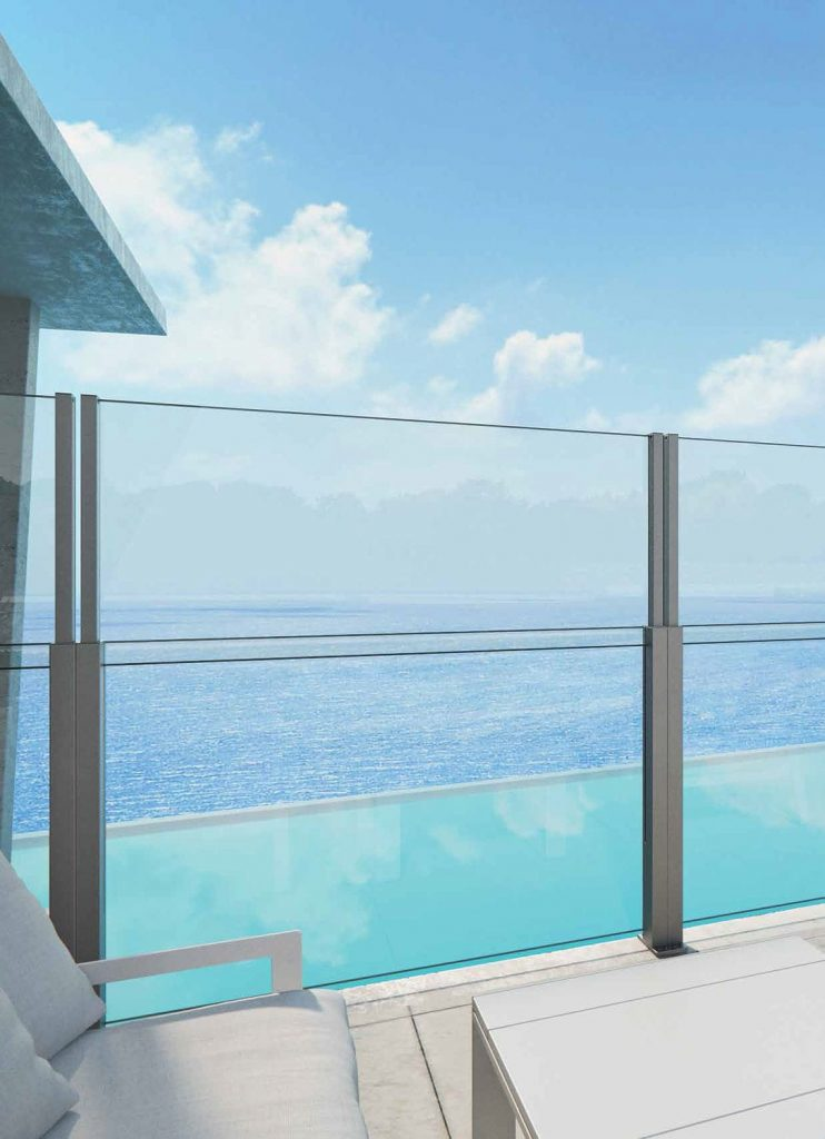 Aluminum railing / glass panel / outdoor / for balconies Alu Floors Scandinavia