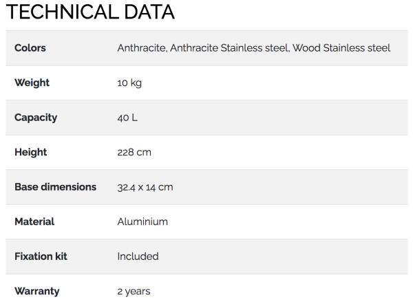 douche-solaire-dada-straight-Technical Data