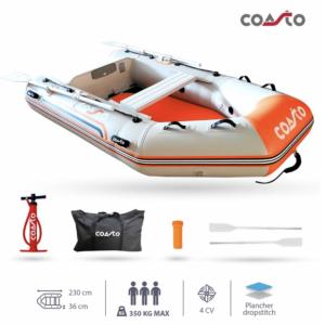 Coasto DS-230 uppblåsbar båt - 230 x 135 cm - ljusgrå